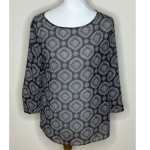 LOFT Geometric Sheer Top